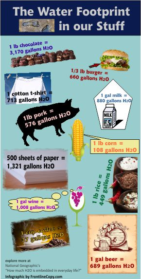 water footprint infographic showing the water in our food