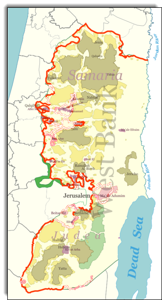 West Bank Separation Barrier http://en.wikipedia.org/wiki/File:Westbank_barrier.png.  Green line=pre-June 1967 border. Red line=Separation Wall